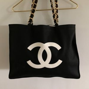 Authentic Chanel Black White Canvas Tote Bag